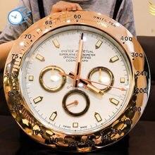 Super Silent Sweep Wanduhr Moderne Design Rose Gold Rolexes Wand Uhr Hause Edelstahl Kalender Leucht Uhr