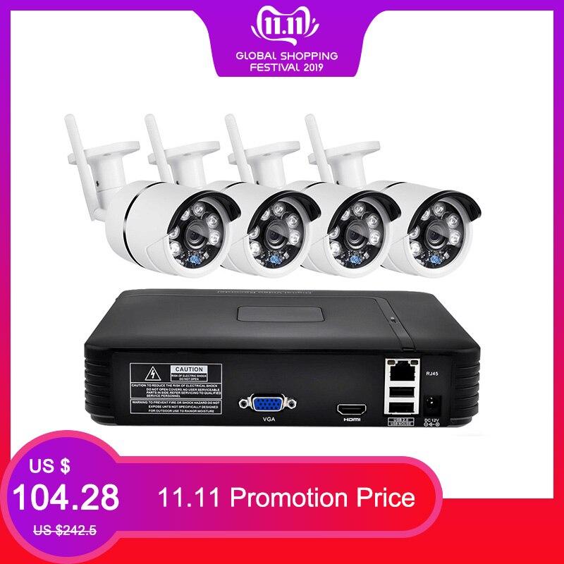 FUERS 4Ch NVR WIFI Video Surveillance System CCTV Security Camera System Kit 720P IR-CUT Outdoor IP Camera CCTV WIFI System