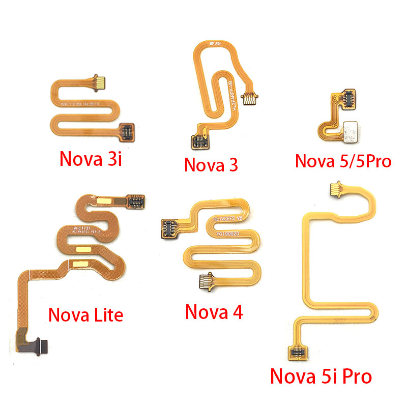 2Pcs/Lot,Fingerprint Home Button Connection Flex Cable Ribbon For Huawei Nova 3 3i 4 4e 5 5i Pro P10 P20 Pro P30 Lite