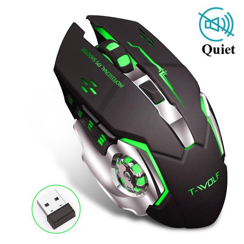 Sem fio recarregável 2.4 ghz led backlit mouse usb óptico 6 botão ergonômico silencioso gamer mouse camundongos para computador portátil