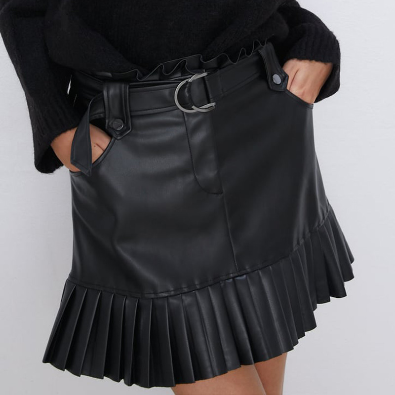 RR Black PU Skirts Women Fashion Faux Leather Skirt Women Elegant Tie Belt Waist Mini Skirts