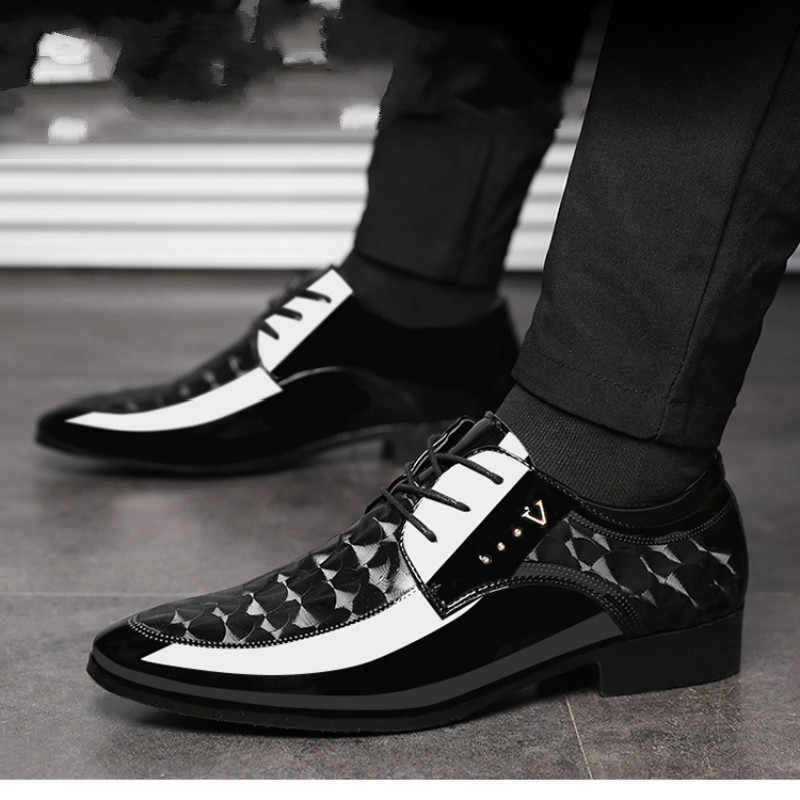 Black Men Suit Shoes Party Men's Dress Shoes Italian Leather Zapatos Hombre Formal Shoes for Male Office Sapato Social Masculino