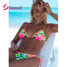 2019 Sexy Bandage Bikinis Women Swimsuit Push Up Swimwear  Bikini Set Beach Bathing Suit Swim Wear Brazilian Biquini Print недорого