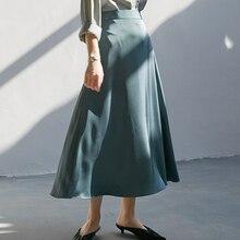 Korean Silk Skirts Womens Elegant Women Satin Skirt Woman High Waist Long Skirts Women Solid A-line Midi Skirt Faldas Mujer Moda