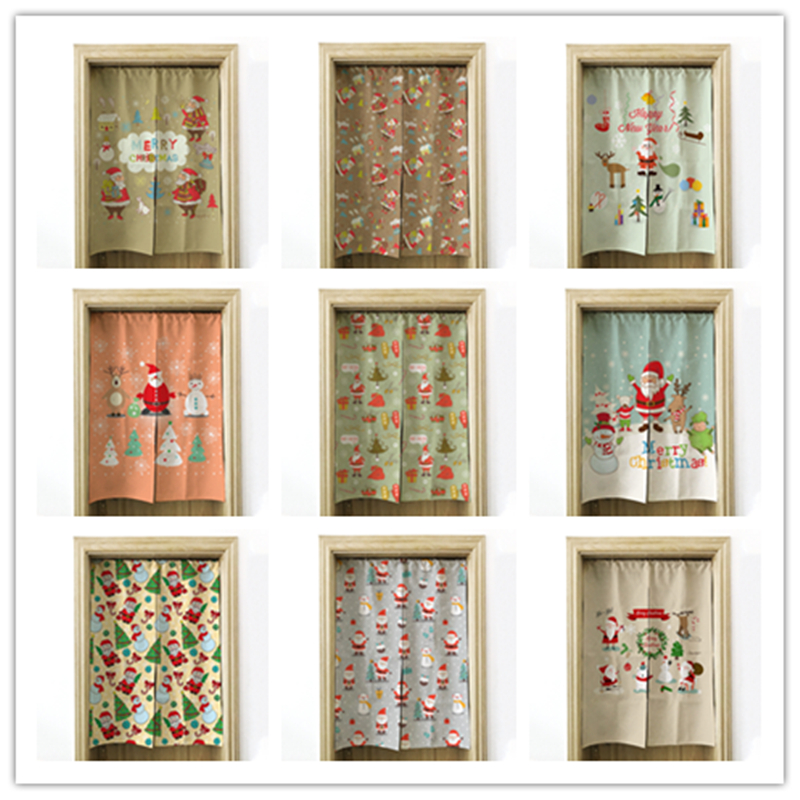 Christmas Curtain Cotton Linen Art Bedroom Living Room Partition Curtain Porch Half Curtain Bathroom Curtain Kitchen Shade