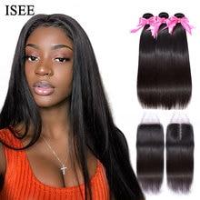Mechones de pelo liso con cierre ISEE Hair extensiones de cabello humano mechones Remy con extensiones de pelo ondulado mechones brasileños frontales con cierre