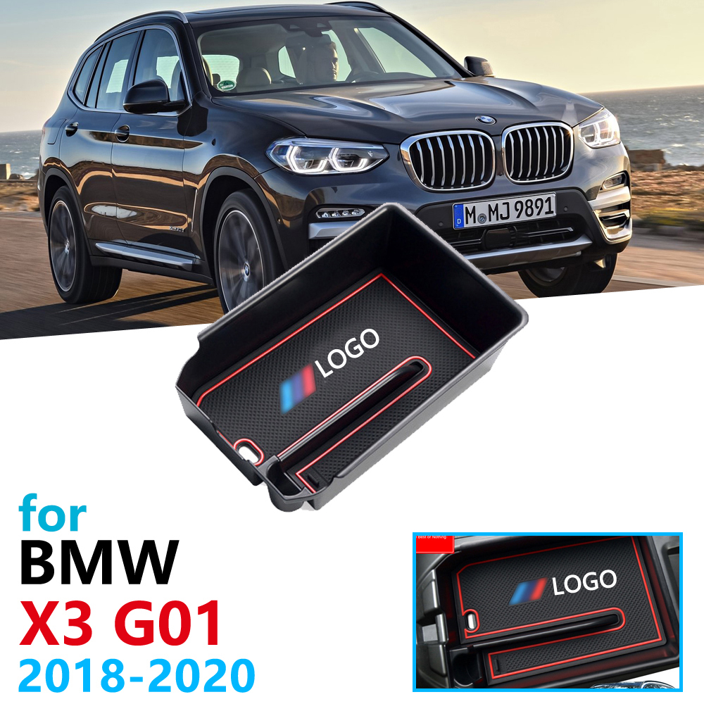 Car Organizer Accessories for <font><b>BMW</b></font> <font><b>X3</b></font> <font><b>G01</b></font> 2018 2019 2020 Armrest Box Storage Stowing Tidying Coin Box X3M xDrive 20i 20d image
