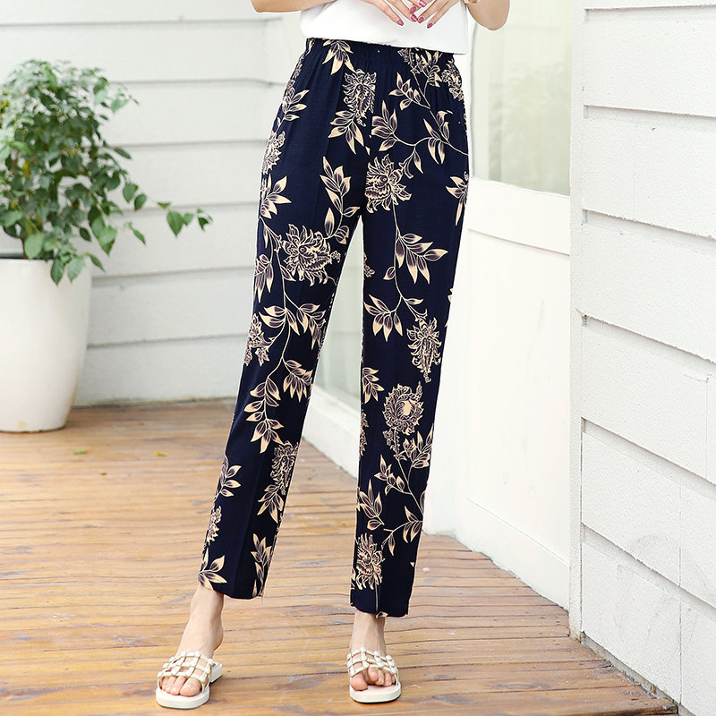 22 Colors 2020 Women Summer Casual Pencil Pants XL-5XL Plus Size High Waist Pants Printed Elastic Waist Middle Aged Women Pants 31