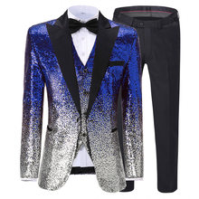 Men's suit Shiny Royal Blue Sequins Suit Slim Fit Green Tuxedos For Party Wedding Banquet Prom Stage Costume (Blazer+Vest+Pant)(China)