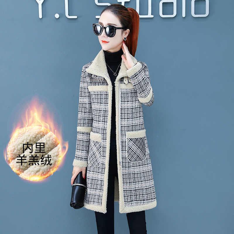 Faux Lamb Liner ciepła kurtka moda kobiety jesień zima szczupła płaszczyk średniej długości Mujer kobieta ulica Plaid parki Plus rozmiar znosić