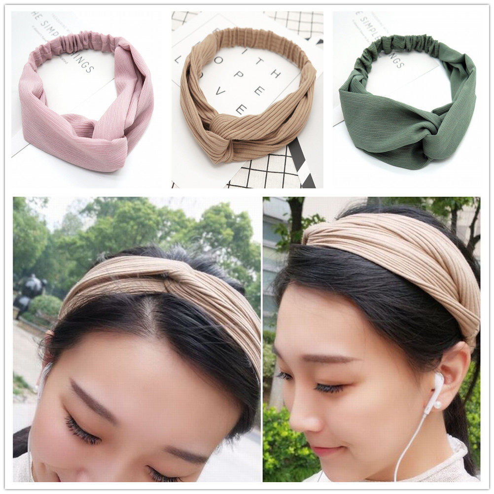 Wide Hairband Fashion Solid Silk Simple Hair Band Elastic Hair Hoop Hair Accessories for Women and Girls Blue