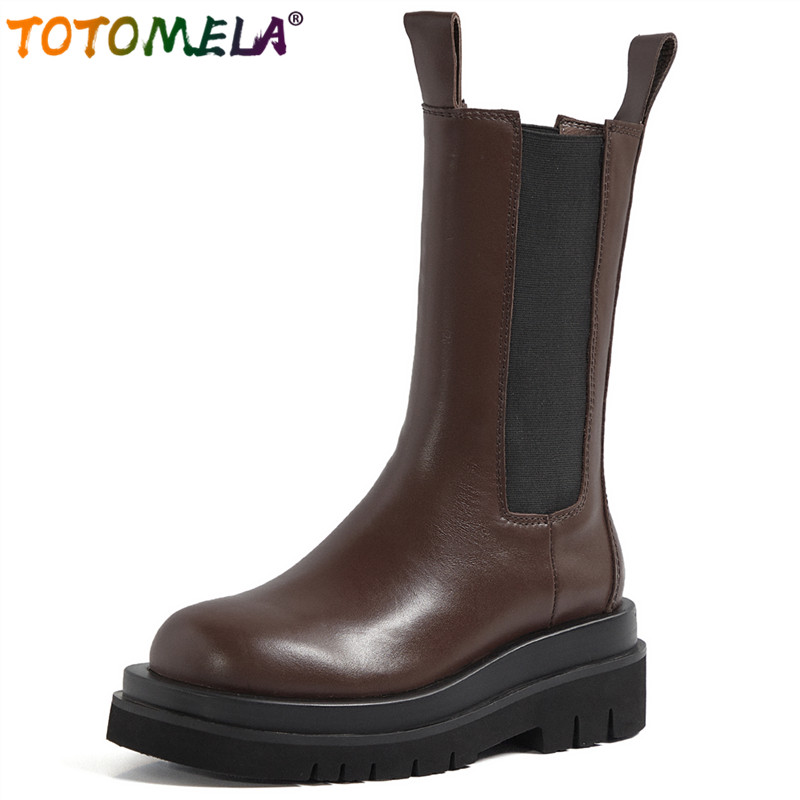TOTOMELA Plus size 34-43 Nature Full genuine leather boots retro platform Chelsea boots slip on mid calf boots women shoes