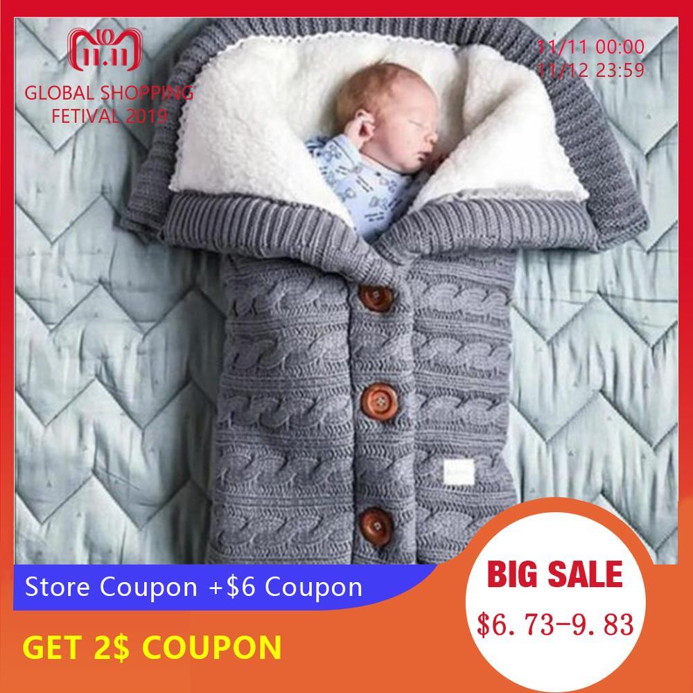 CALOFE Baby Sleeping Bag Thicken Envelope Winter Kids Stroller Sleepsack Knitted Sleep Sack Newborn Swaddle Knit Wool Slaapzak
