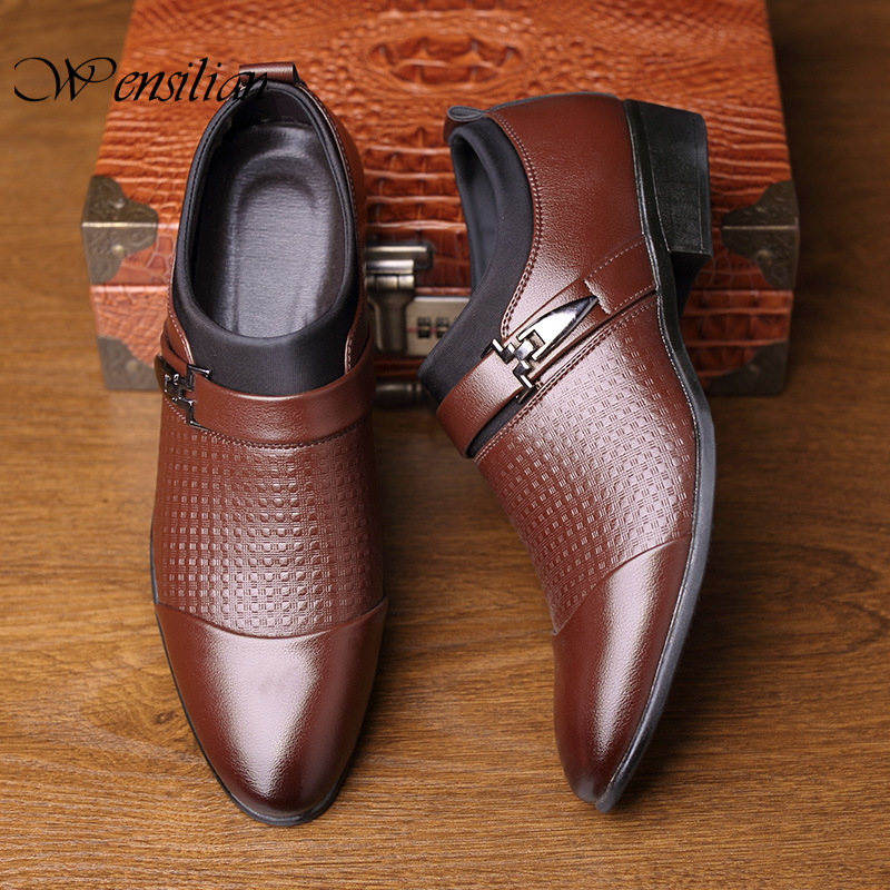 Business Leather Men Casual Shoes Formal Dress Shoes Luxury Office Flats Pointed Toe Men Wedding Shoes Plus Size Mocassin Homme