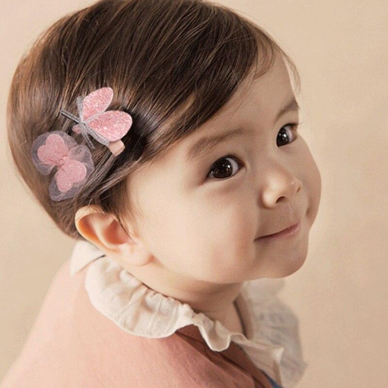 Hair Pin 2 Pcs Cloth Baby Girls Bow Headdress Cute Bangs Baby Side Clip Hair Accessories Hair Pin