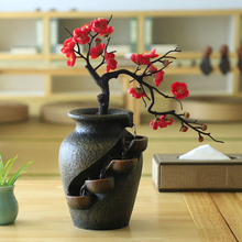 Creative Home Garden Simulation Plant Vase Crafts Resin Waterfall Fountain Indoor Desktop Flowing Water Landscape Ornament