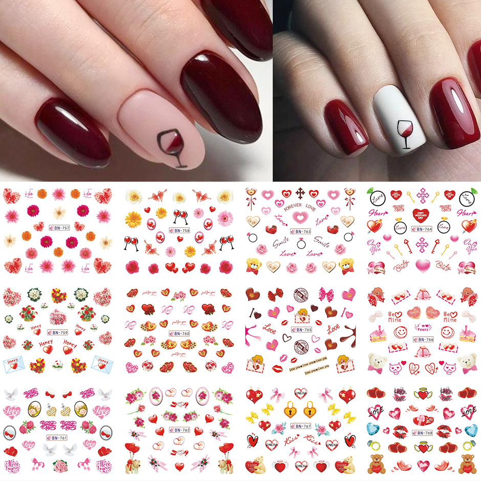 12pcs Valentines Manicure Love Letter Flower Sliders for Nails Inscriptions Nail Art Decoration Water Sticker Tips GLBN1489-1500 8