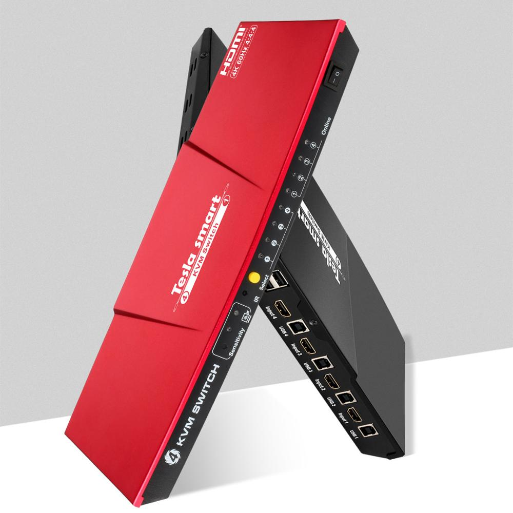 4K 4 Ports KVM Switch HDMI 4x1 KVM HDMI Switch Supports USB 2.0 Device Control Up To 4 PC 4 Input 1 Output HDMI KVM Switcher