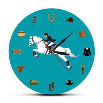 Equipos Deportivos ecuestres, reloj moderno de acrílico para colgar en la pared, accesorios para montar a caballo, reloj de pared ecuestre, regalo para amante de los caballos