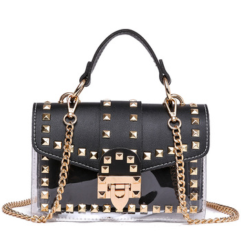 2020 TINYAT Women Shoulder Bag Transparent Women Bag Girl Fashion Rivet Crossbody Bag Pack Female Messenger Bag 1