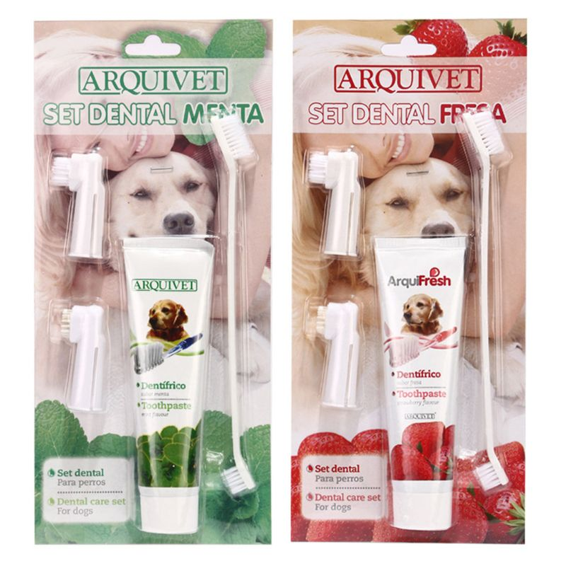 Toothpaste for Dogs Pet Dental Care Kit with 2 Finger Toothbrushes, 1 Dual Sided Brushes and 1 Dog Toothpaste image