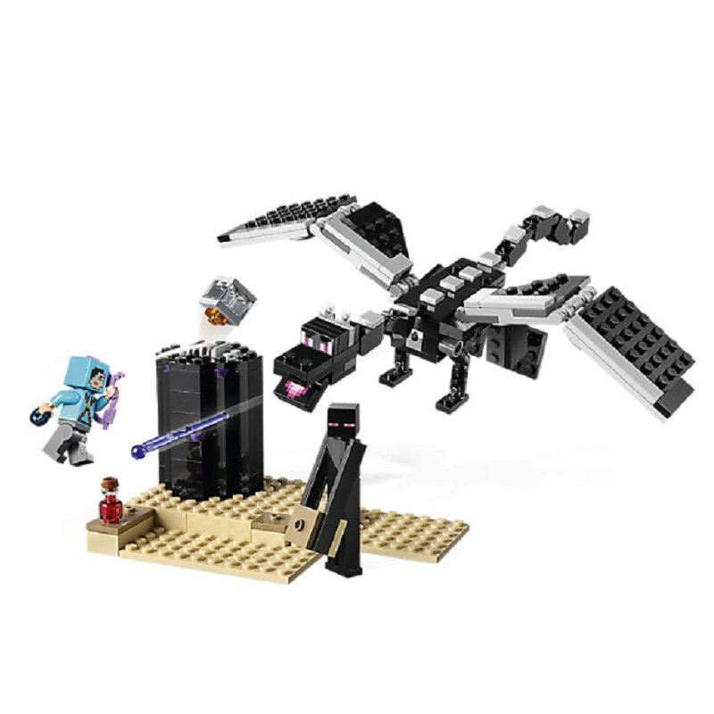 The End Battle Shadow Dragon Building Blocks With Steve Action Figures Compatible LegoINGlys MinecraftINGlys Sets Toys 21151 7
