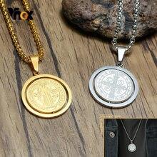 Vnox – collier rotatif en acier inoxydable pour hommes, pendentif de pièce de monnaie, bijou de foi religieux