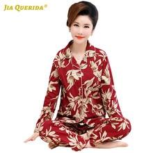 Turn Down Collar Homesuit Homeclothes Long Sleeve Long Pants Printing Pajamas Sleepwear Pajamas Set Pj Set Pajamas for Women