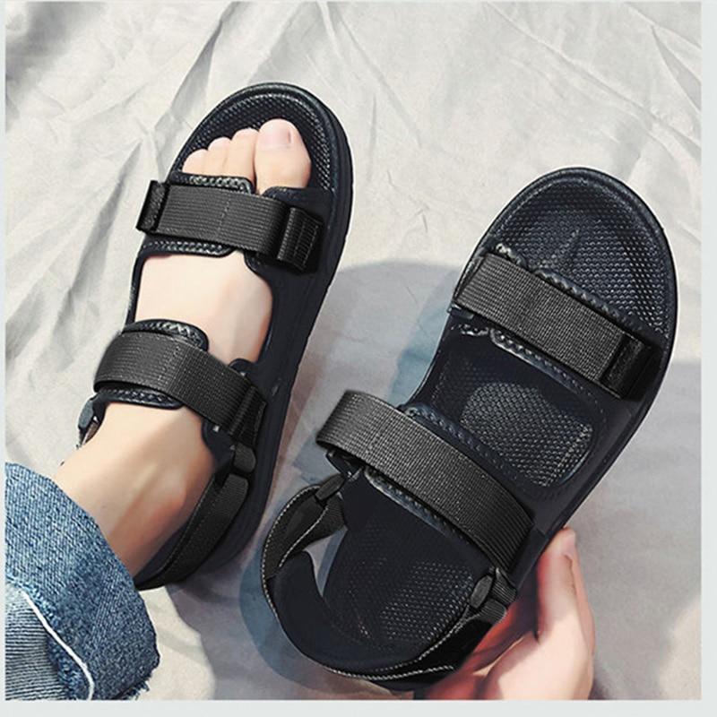 New Man Sandals Soft Bottom Men Summer Beach Shoes Solid Color Shoes Non-slip Open Toe Men's Sandals Beach Slippers NANLX29