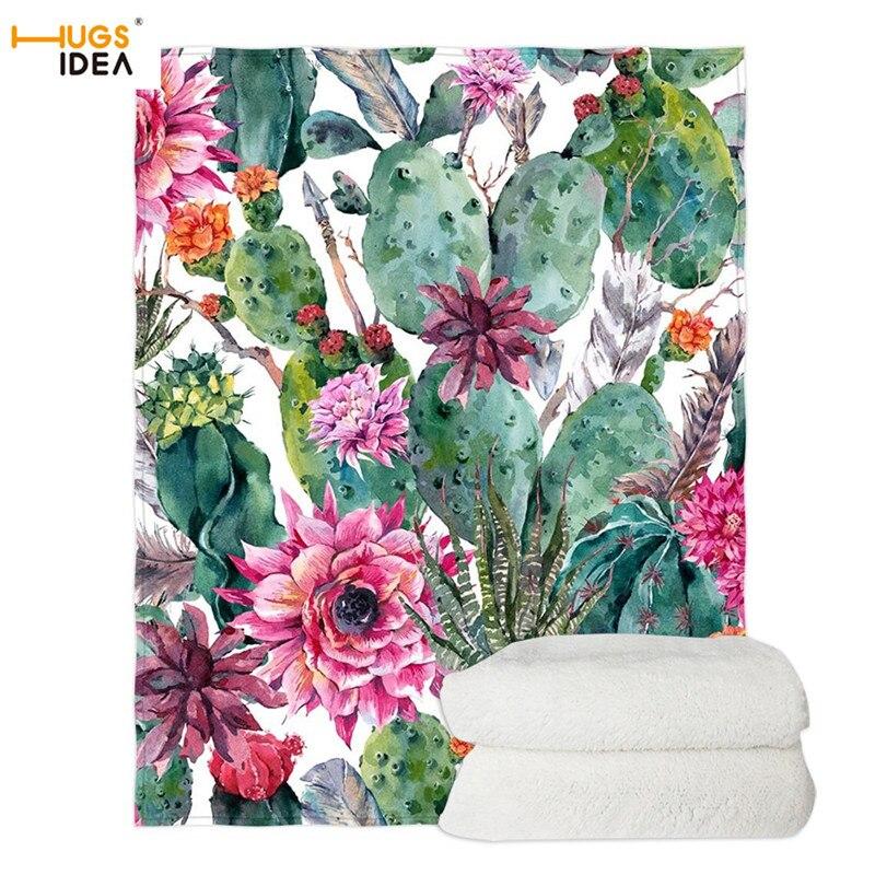 HUGSIDEA Blanket Beautiful Cactus Pattern Soft Sofa/Couch Blanket Spring Air Condition Blanket Cactus Flower Printed Blanket Blankets    - AliExpress