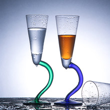 Bending Pigmented Champgane Glass Irregular Design Glass Cocktail Goblet Sherry Wine Cup Party Drinkware Bar Serving Accessories