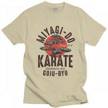 Camiseta de manga curta dos homens da camiseta do miúdo do karate do vintage de miyagi inspirado t camisa de algodão cobra kai tshirt japonês do kung fu