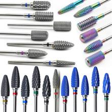 28 типов сверл для ногтей, электрическая дрель, маникюрный станок, аксессуары, радужные вольфрамовые карбидные керамические фрезы, пилки для ногтей