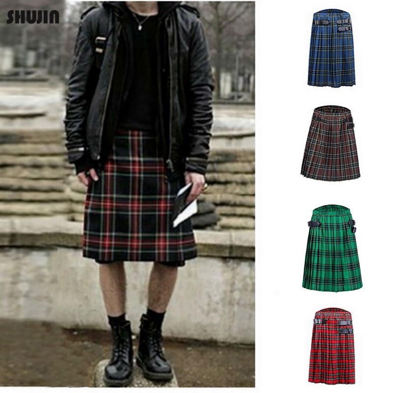 OEAK Scottish Mens Kilt Traditional Skirt Male Spring Autumn Retro Bottom Plaid Belt Pleated Gothic Punk Scottish Tartan Skirt