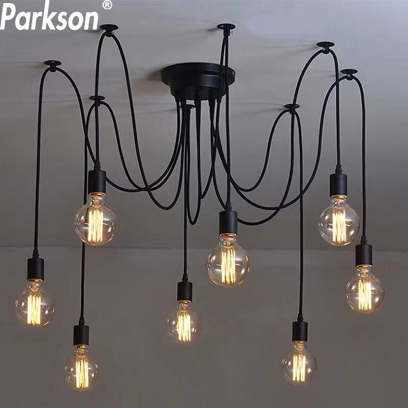 Işıklar ve Aydınlatma'ten Kolye ışıkları'de Modern İskandinav Retro kolye işıkları E27 LED Edison ampul Vintage lambalar DIY örümcek kolye ışıkları kapalı çatı ev dekorasyon ışık title=