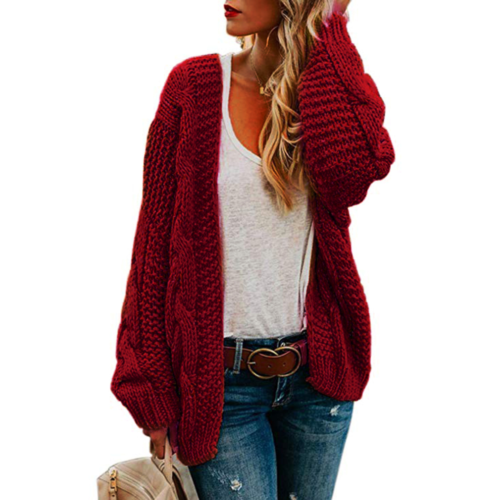 Knitted Sweater Twist-Cardigan Winter Thick Solid Tops Needle Loose-Top Large-Size Women's