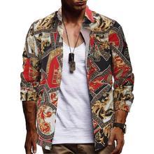 Men Hawaiian Long Sleeve Shirt Summer Floral Printed Beach Sea Shirt