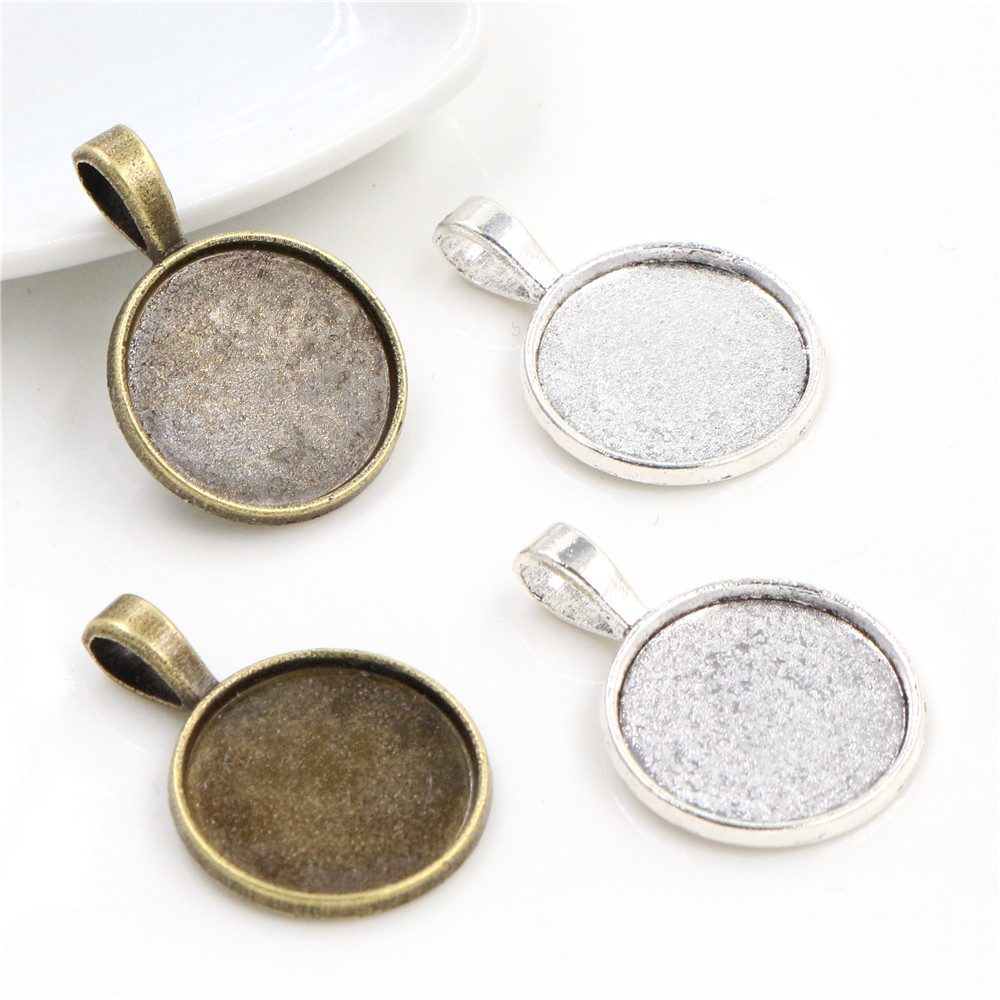 10pcs 18mm Inner Size Antique Bronze And Silver Plated Flower Simple Style Cabochon Base Cameo Setting Charms Pendant