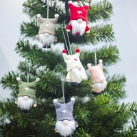 Festival Elf Knitted Plush Doll Christmas Pendant Drop Ornament With Hanging String Seasonal Home Decoration Supplies 1PC
