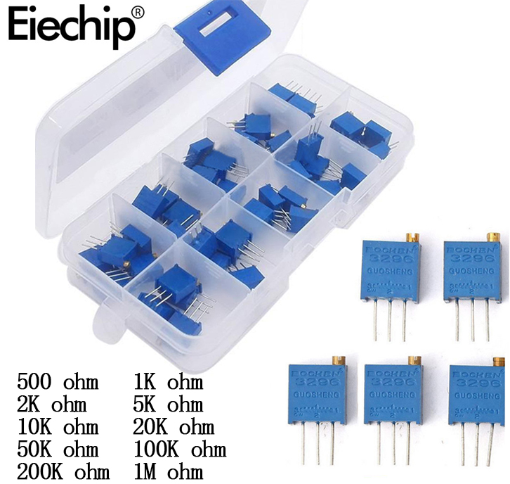 50pcs/lot 3296W Multiturn Trimmer Potentiometer Kit High Precision 3296 Variable Resistor With Free Box Electronic Diy Kit