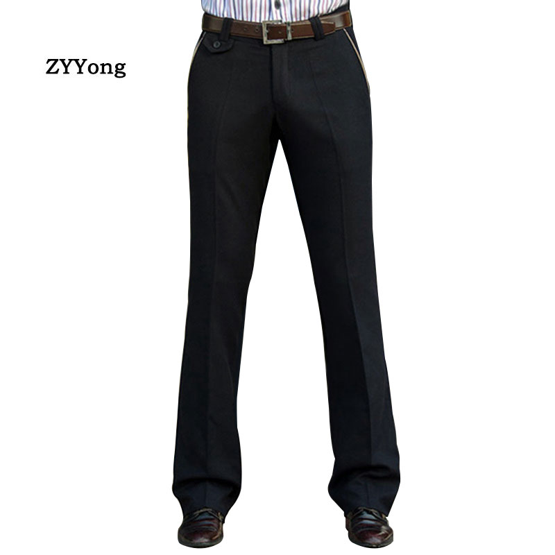 New Men's Flared Boot Cut Trousers Business Casual British Style Office Meeting Slim Comfortable High Quality Black Suit Pants
