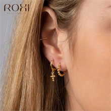 ROXI Fashion Women's Cross Stud Earrings 100% 925 Sterling Silver Small Round Beads Cross Earrings for Women Jewelry Party Gift(China)