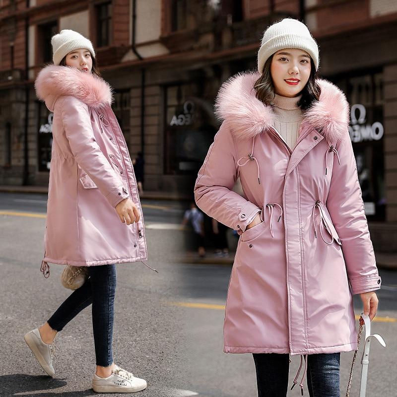 Women's Mid-length Imitation Rabbit Fur Parka 19 Winter New Style Waist Hugging Plus-sized Workwear Trench Coat Women's