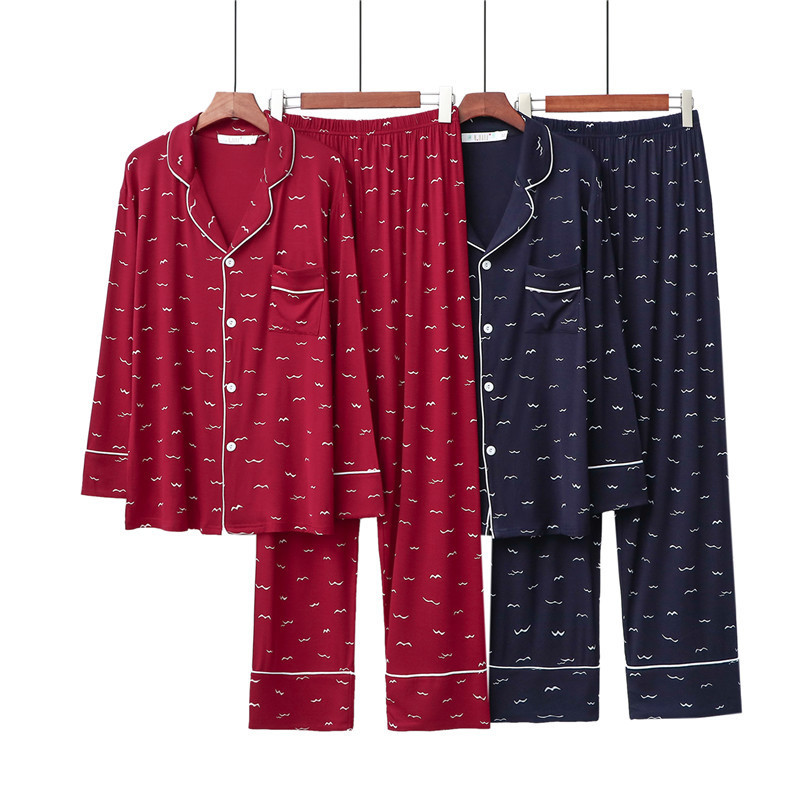 High Grade Women Pajamas Set New 2020 Print Night Suit Female Large Size Loose Sleepwear Pijama Cotton Long Pant Ladies Pyjamas