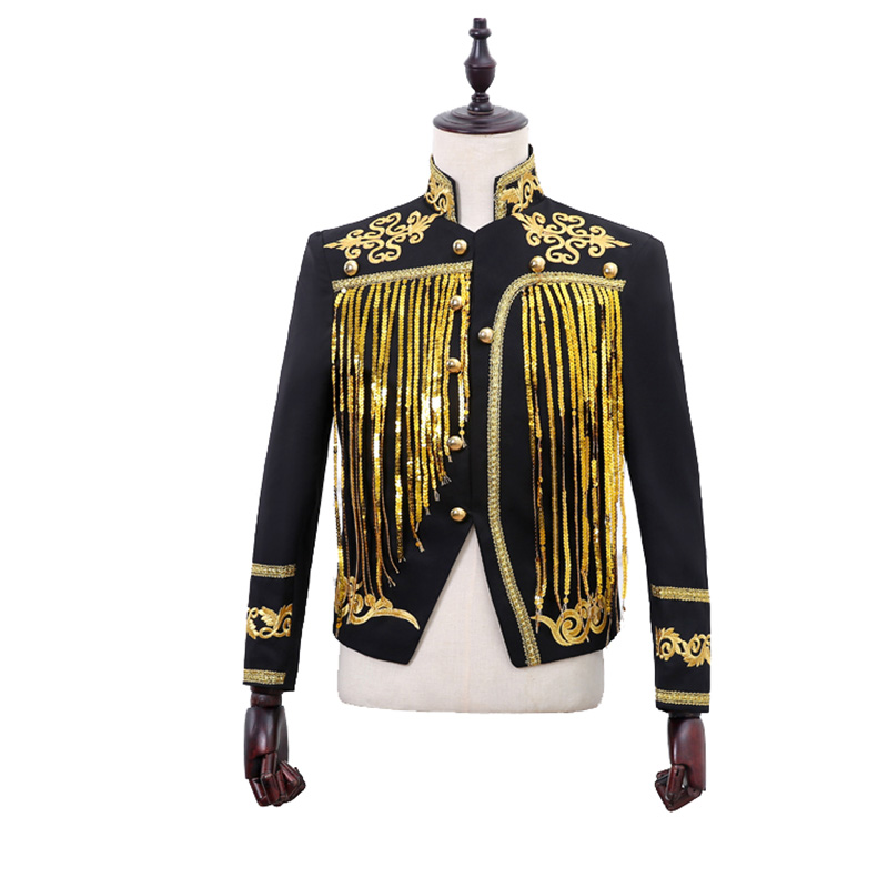 Fashion Men's Suit With Gold / Silver Tassel Slim Casual Short Jacket Cosplay Palace Prince Style Suit Coat Dance Club Party