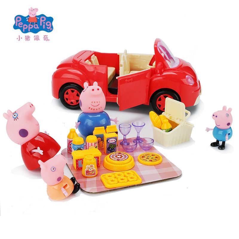 الأصلي Peppa خنزير لينة رئيس ألعاب شخصيات الحركة Peppa جورج أصدقاء الأسرة حفلة نزهة الفصول الدراسية تعلم لعبة تعليمية هدية