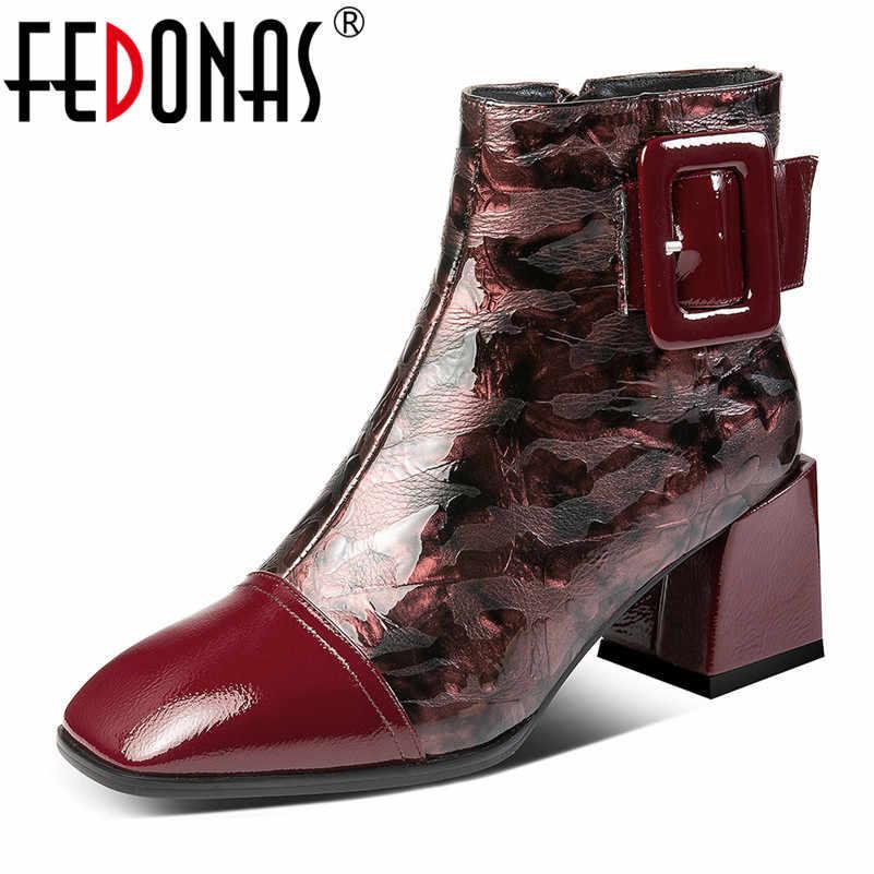 FEDONAS אלגנטית משרד נשים קרסול מגפי עור אמיתי גודל גדול אישה נעלי מפלגה סתיו החורף חם מגפיים קצרים