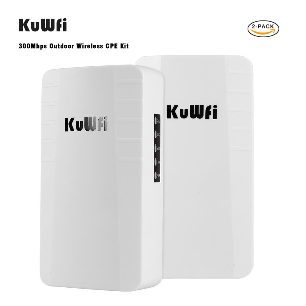 KuWFi Outdoor AP 2 Pack 2.4Ghz  300Mbps Point To Point Wireless Bridge With RJ45 For Security Monitoring Outdoor Wifi Booster