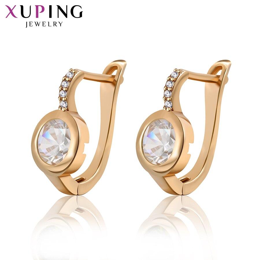 Xuping Earring New Design Luxury Synthetic Cubic Zirconia Hoop Earrings Statement Jewelry for Women M10-20352