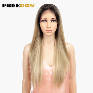 Image 2 - 自由合成レースフロントウィッグ 40 インチ晩餐ロング深い自然波オンブルブロンド 613 色の髪のかつら女性ファッション